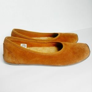 LL Bean Sheep Skin Slippers Suede Brown Tan Size 8